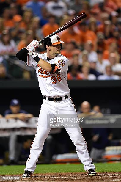 Caleb Joseph of the Baltimore Orioles bats against the Tampa Bay Rays in the fourth inning during a baseball game at Oriole Park at Camden Yards on...