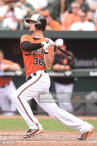 Caleb Joseph of the Baltimore Orioles bats during game one against the Cleveland Indians at Oriole Park at Camden Yards on June 28 2015 in Baltimore...