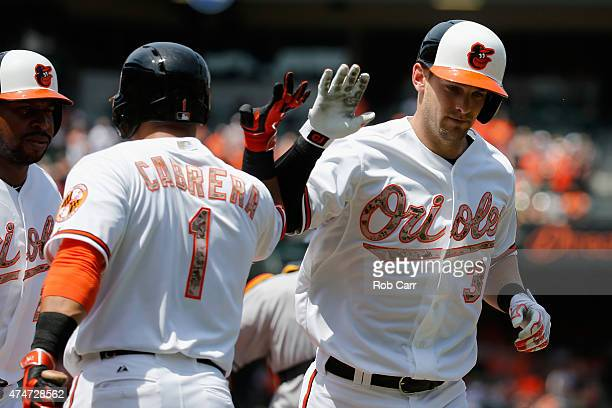 Caleb Joseph of the Baltimore Orioles celebrates with Everth Cabrera after hitting a two RBI home run in the second inning against the Houston Astros...
