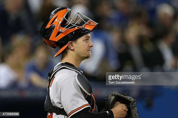 Caleb Joseph of the Baltimore Orioles during MLB game action against the Toronto Blue Jays on April 21 2015 at Rogers Centre in Toronto Ontario Canada