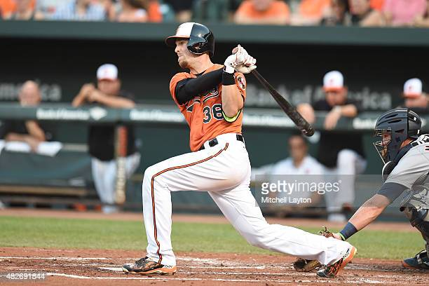 Caleb Joseph of the Baltimore Orioles hits a rbi single in the second inning during a baseball game against the Detroit Tigers at Oriole Park at...