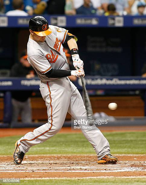 Caleb Joseph of the Baltimore Orioles hits a tworun home run off of pitcher Matt Moore of the Tampa Bay Rays during the fourth inning of a game on...