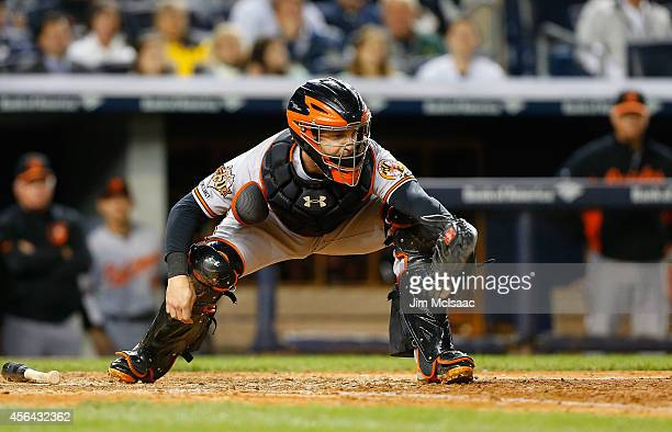 Caleb Joseph of the Baltimore Orioles in action against the Baltimore Orioles at Yankee Stadium on September 25 2014 in the Bronx borough of New York...