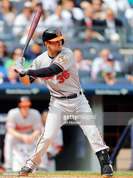 Caleb Joseph of the Baltimore Orioles in action against the New York Yankees at Yankee Stadium on September 24 2014 in the Bronx borough of New York...