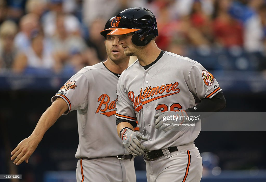 Caleb Joseph #36 of the Baltimore Orioles is congratulated by J.J. Hardy #2 after hitting a two-run home run in the fourth inning during MLB game action against the Toronto Blue Jays on August 7, 2014 at Rogers Centre in Toronto, Ontario, Canada.