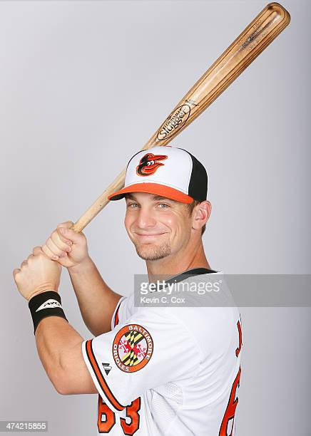Caleb Joseph of the Baltimore Orioles poses for a portrait on photo day on February 22 2014 at Ed Smith Stadium in Sarasota Florida