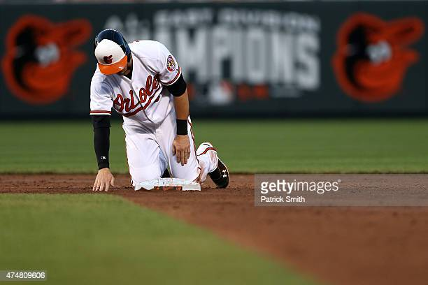 Caleb Joseph of the Baltimore Orioles reacts after the top on the fourth inning ends against the Houston Astros at Oriole Park at Camden Yards on May...