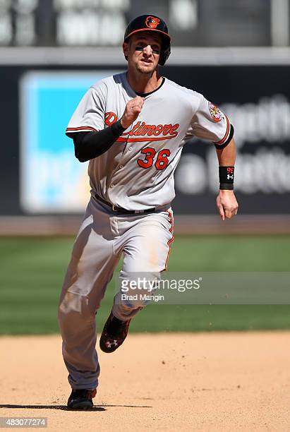 Caleb Joseph of the Baltimore Orioles runs the bases against the Oakland Athletics during the game at Oco Coliseum on Wednesday August 5 2015 in...