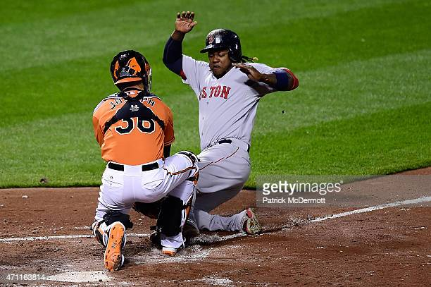 Caleb Joseph of the Baltimore Orioles tags out Hanley Ramirez of the Boston Red Sox at home plate in the fourth inning during a baseball game at...