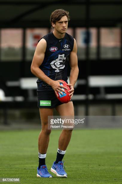 Caleb Marchbank prepares to kick during a Carlton Blues AFL media opportunity at Ikon Park on March 3 2017 in Melbourne Australia