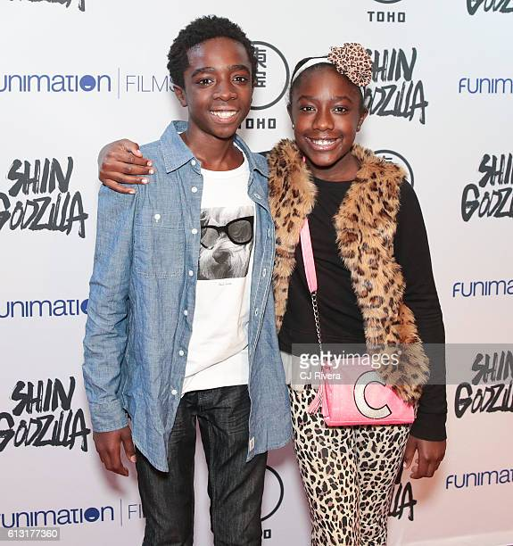 Caleb McLaughlin and Caitlyn McLaughlin attend 'Shin Godzilla' New York Comic Con Premiere on October 5 2016 in New York City
