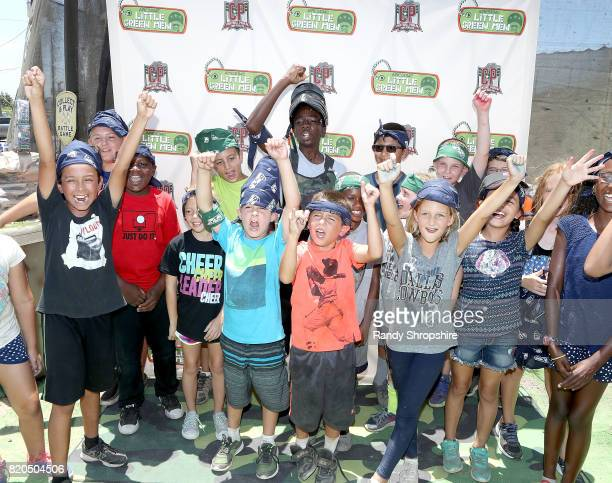 Caleb McLaughlin and guests attend Awesome Little Green Men battle at paintball park at Camp Pendleton on July 20 2017 in Oceanside California