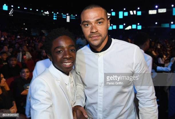 Caleb McLaughlin and Jesse Williams onstage at 2017 BET Awards at Microsoft Theater on June 25 2017 in Los Angeles California