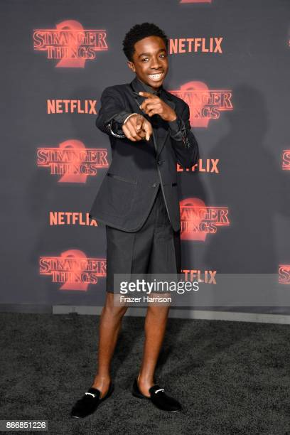 Caleb McLaughlin attends the premiere of Netflix's 'Stranger Things' Season 2 at Regency Bruin Theatre on October 26 2017 in Los Angeles California