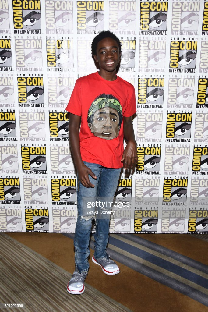 Caleb McLaughlin attends the 'Stranger Things' press conference at Comic-Con International 2017 on July 22, 2017 in San Diego, California.