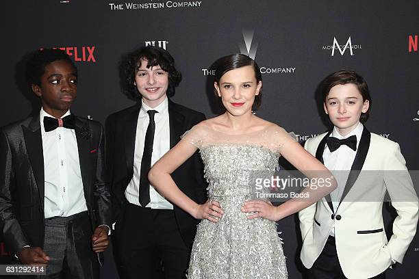 Caleb McLaughlin Finn Wolfhard Millie Bobby Brown and Noah Schnapp attend The Weinstein Company and Netflix Golden Globe Party presented with FIJI...