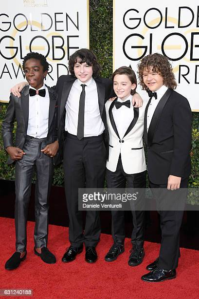Caleb McLaughlin Finn Wolfhard Noah Schnapp and Gaten Matarazzo attend the 74th Annual Golden Globe Awards at The Beverly Hilton Hotel on January 8...