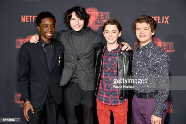 Caleb McLaughlin Finn Wolfhard Noah Schnapp and Gaten Matarazzo attend the premiere of Netflix's 'Stranger Things' Season 2 at Regency Bruin Theatre...