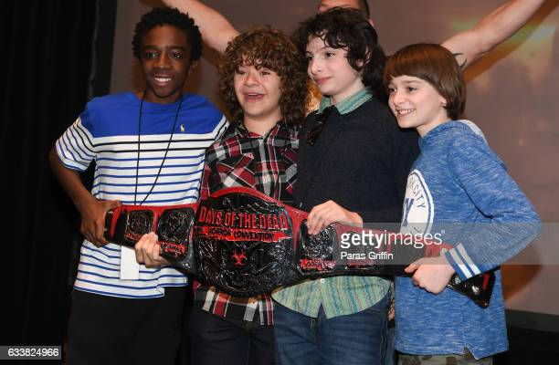Caleb McLaughlin Gaten Matarazzo Finn Wolfhard and Noah Schnapp attends 'Stranger Things' panel during the 2017 Days Of The Dead at Sheraton Hotel on...