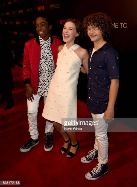 Caleb McLaughlin Millie Bobby Brown and Gaten Matarazzo attend Netflix's 'Stranger Things' For Your Consideration event at Netflix FYSee Space on...
