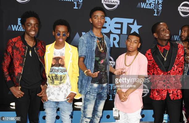 Caleb McLaughlin Myles Truitt Jahi Di'Allo Winston Dante Hoagland and Tyler Marcel Williams of 'The New Edition Story' attend the 2017 BET Awards at...