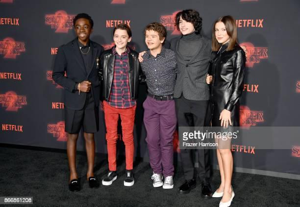 Caleb McLaughlin Noah Schnapp Gaten Matarazzo Finn Wolfhard and Millie Bobby Brown attend the premiere of Netflix's 'Stranger Things' Season 2 at...