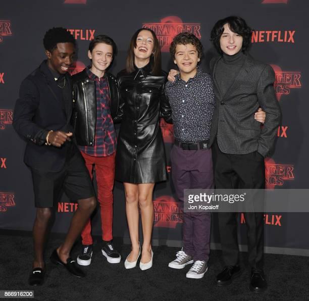 Caleb McLaughlin Noah Schnapp Millie Bobby Brown Gaten Matarazzo and Finn Wolfhard arrive at the premiere of Netflix's 'Stranger Things' Season 2 at...
