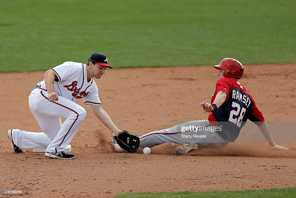 Caleb Ramsey of the Washington Nationals beats a tag by Phil Gosselin#69 of the Atlanta Braves in the eighth inning of a game at Champion Stadium on...