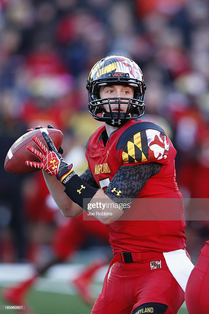 Caleb Rowe #7 of the Maryland Terrapins looks to throw a pass against the Clemson Tigers during the first half of the game at Byrd Stadium on October 26, 2013 in College Park, Maryland.