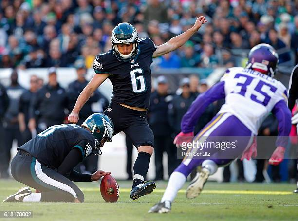 Caleb Sturgis of the Philadelphia Eagles kicks a field goal as Marcus Sherels of the Minnesota Vikings attempts a block during the fourth quarter of...