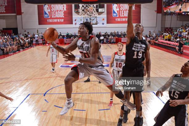 Caleb Swanigan of the Portland Trail Blazers drives to the basket during the 2017 Las Vegas Summer League game against the San Antonio Spurs on July...