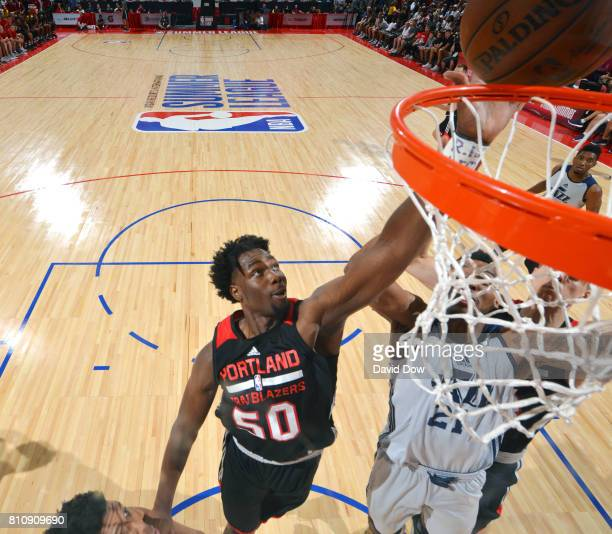 Caleb Swanigan of the Portland Trail Blazers dunks against the Utah Jazz during the 2017 Summer League on July 8 2017 at Cox Pavillion in Las Vegas...