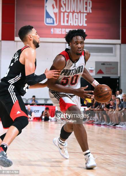Caleb Swanigan of the Portland Trail Blazers handles the ball against the Chicago Bulls during the 2017 Summer League on July 12 2017 at Cox...