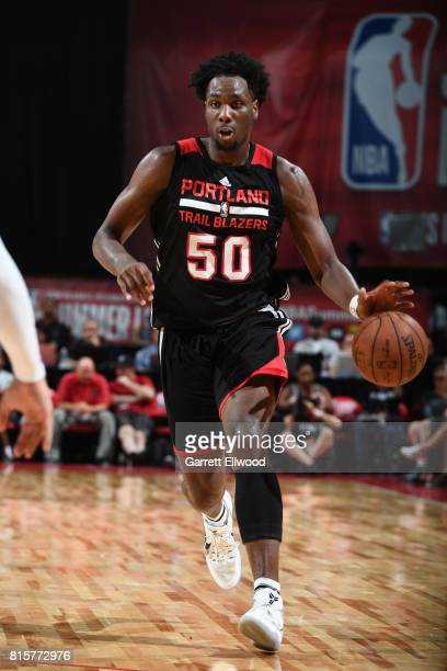 Caleb Swanigan of the Portland Trail Blazers handles the ball against the Memphis Grizzlies during the 2017 Summer League Semifinals on July 16 2017...