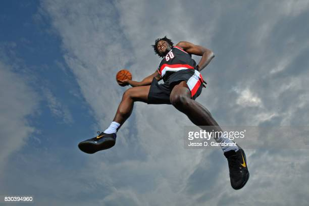 Caleb Swanigan of the Portland Trail Blazers poses for a portrait during the 2017 NBA rookie photo shoot on August 11 2017 at the Madison Square...