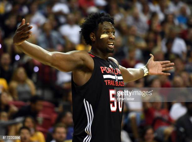 Caleb Swanigan of the Portland Trail Blazers reacts after being called for a foul during the championship game of the 2017 Summer League against the...