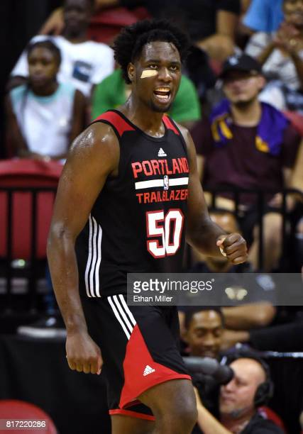Caleb Swanigan of the Portland Trail Blazers reacts after scoring and getting a foul call against the Los angeles Lakers during the championship game...