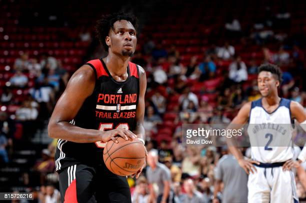 Caleb Swanigan of the Portland Trail Blazers shoots a free throw during the game against the Memphis Grizzlies during the Semifinals of the 2017 Las...