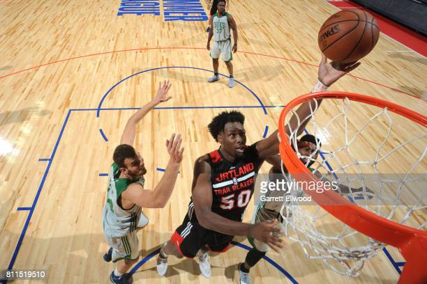 Caleb Swanigan of the Portland Trail Blazers shoots the ball against the Boston Celtics during the 2017 Las Vegas Summer League on July 9 2017 at the...