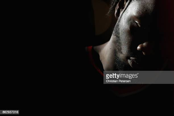 Caleb Swanigan of the Portland Trail Blazers sits on the bench during a time out from the first half of the NBA game against the Phoenix Suns at...