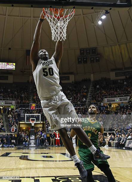 Caleb Swanigan of the Purdue Boilermakers dunks the ball against the Norfolk State Spartans at Mackey Arena on December 21 2016 in West Lafayette...