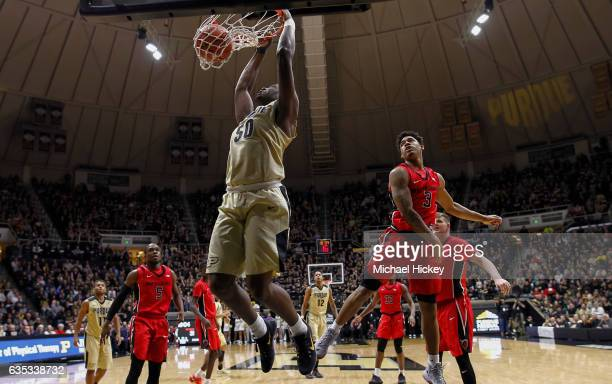 Caleb Swanigan of the Purdue Boilermakers dunks the ball against the Rutgers Scarlet Knights at Mackey Arena on February 14 2017 in West Lafayette...