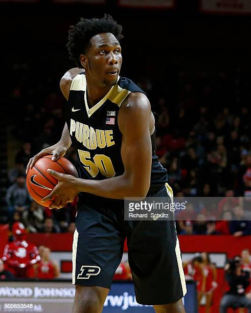 Caleb Swanigan of the Purdue Boilermakers in action against the Rutgers Scarlet Knights during the first half of a college basketball game at the...