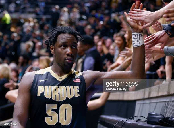 Caleb Swanigan of the Purdue Boilermakers is seen after the game against the Michigan State Spartans at Mackey Arena on February 18 2017 in West...