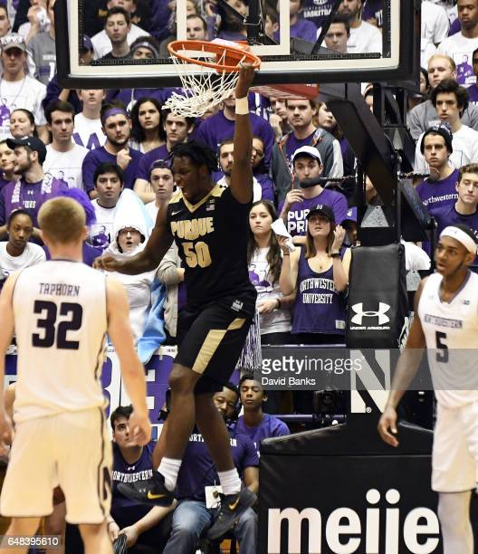 Caleb Swanigan of the Purdue Boilermakers reacts after dunking against the Northwestern Wildcats during the second half on March 5 2017 at WelshRyan...
