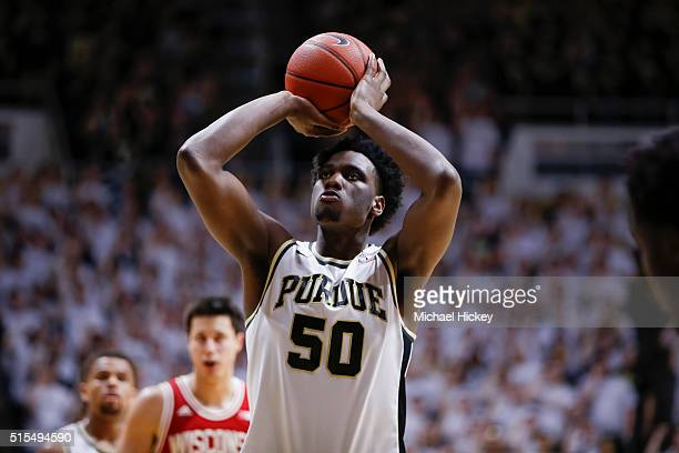 Caleb Swanigan of the Purdue Boilermakers shoots a free throw during the game against the Wisconsin Badgers at Mackey Arena on March 6 2016 in West...
