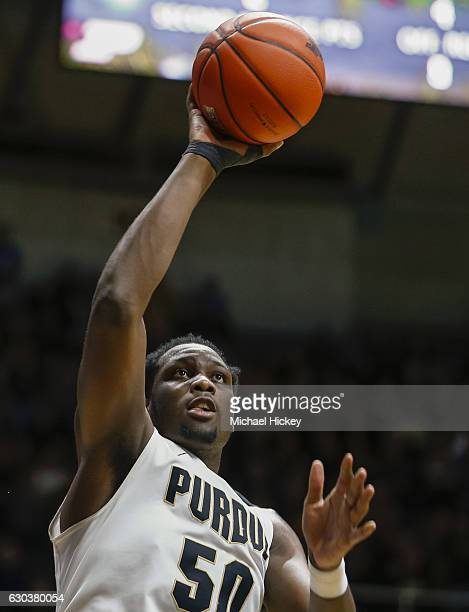 Caleb Swanigan of the Purdue Boilermakers shoots the ball against the Norfolk State Spartans at Mackey Arena on December 21 2016 in West Lafayette...