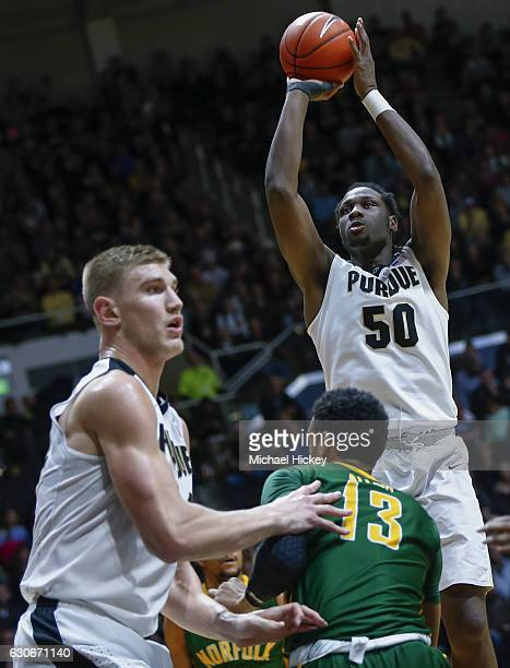 Caleb Swanigan of the Purdue Boilermakers shoots the ball during the game against the Norfolk State Spartans at Mackey Arena on December 21 2016 in...