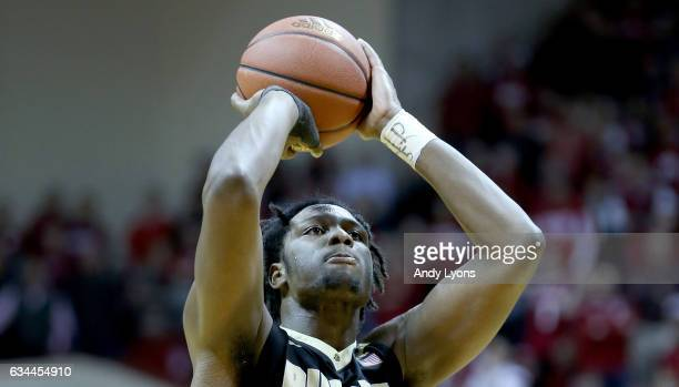 Caleb Swanigan of the Purdue Boilermakers shoots the ball during the game against the Indiana Hoosiers at Assembly Hall on February 9 2017 in...