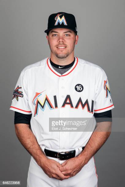 Caleb Thielbar of the Miami Marlins poses during Photo Day on Saturday February 18 2017 at Roger Dean Stadium in Jupiter Florida